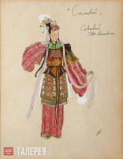 Головин Александр. Эскиз костюма Соловья (поющего), «Соловей». 1918