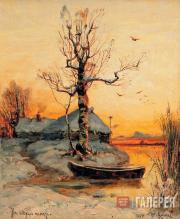Klever Iuly. Hut on the Edge of a Lake in Winter. 1891