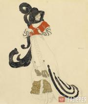 Л.С.Бакст. Женский туалет для костюмированного бала. Около 1914