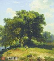 Savrasov Alexei. Landscape with Oak Trees and Shepherd. 1860