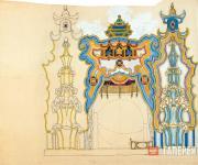 Эскиз декорации (вариант разработки) для постановки оперы И.Ф. Стравинского «Сол