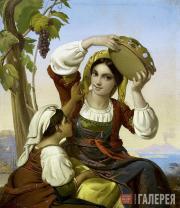Unknown artist. Neapolitan Women Against the Background of Vesuvius. 1850s