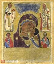 """Sketch of the icon """"Our Lady of Tenderness with the Praying Saints, St. Alexius,"""