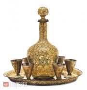 Набор для кидуша: графин, блюдо и 6 рюмок  с изображениями Маген-Давида