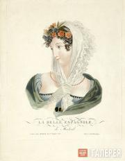Unknown artist. Beautiful Señorita from Madrid. 1823