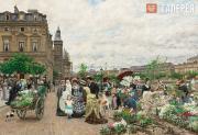 Firmin-Girard François-Marie. Le Quai aux fleurs. 1876