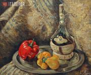 Ланг Евгения Александровна. Натюрморт с бутылкой кьянти. 1940-е