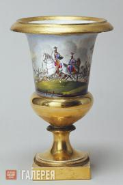 Crater-shaped vase decorated with battle scenes. Second quarter of the 19th cent