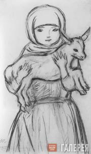 Chernyshev Nikolai. Girl with a Goat Kid. 1935