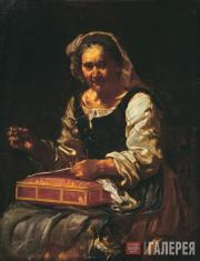 Bernhard [Eberhard] KEIL; [Monsù Bernardo]. Old Woman Sewing (Allegory of Touch)