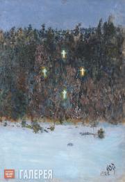 Repin Yury. Vision of the Crosses. 1926