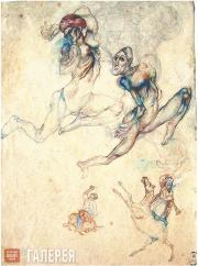 Filonov Pavel. Two Women and Horsemen. 1911-1912