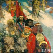 Джордж ГЕНРИ и Эдвард Аткинсон ХОРНЕЛ.  Друиды – срезание омелы. 1890