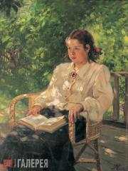 Gerasimov Alexander. Portrait of Daughter in the Garden. 1951