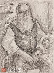 Golitsyn Illarion. Portrait of Vladimir Favorsky. 1962