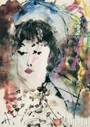 Анатолий ЗВЕРЕВ. Женский портрет в синем платке. 1966