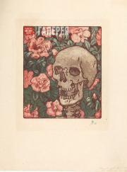 Якунчикова Мария. Смерть и цветы [Череп на темно-зеленом фоне с розовыми цветами