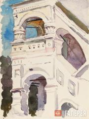 Якунчикова Мария. Фрагмент монастырской стены. 1890-е