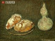 Rosenhauer Theodor. Two Round Loaves of Bread with a Carafe (Two Loaves with Kra