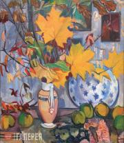 Goncharova Natalia. Autumn Bouquet (Quince and Maple Leaves). 1906