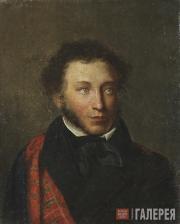Potrrait of Alexander Pushkin (Ostafievo copy). Mid-19th century