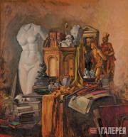 Benois di Stetto. Still-life in Golden Colours with the Attributes of Art. 1943