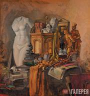 Александр Леви-Бенуа ди Стетто. Натюрморт в золотых тонах с атрибутами искусства