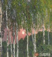 Golovin Alexander. Birches at Night. 1908-1910