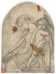 Бруни Федор. Богоматерь с Младенцем, отдыхающая на пути в Египет. 1837