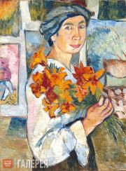 Goncharova Natalia. Self-portrait with Yellow Lilies. 1907