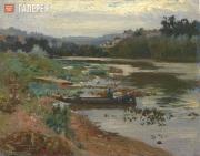 Repin Ilya. Landscape with a Boat. 1875