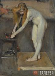 Ulyanov Nikolai. Nude Female Model. In the Studio of V.A. Serov. 1902