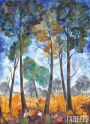 Goncharova Natalia. Autumn Landscape. Resting in the Forest. Second half of 1910