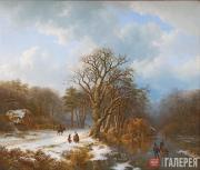 Barend Koekkoek. Winter landscape. 1837