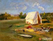 Korovin Konstantin. Morning. Hunting Tent. 1914