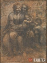 Леонардо да Винчи. Мадонна с младенцем, Св.Анной и младенцем Иоанном Крестителем