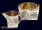 """""""Poppies"""" creamer and sugar bowl. 1908–1916"""