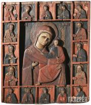 Неизвестный художник. Богоматерь Одигитрия с деисусом и избранными святыми. XVI