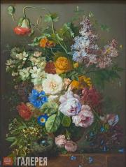 Georgius Jacobus Johannes van Os. Still-life with flowers and bird's nest. c. 18