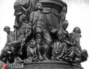 Pedestal of the monument to Catherine the Great in St. Petersburg with the sculp