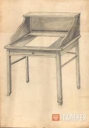 Н.С. Гончарова. Бюро. Эскиз мебели для виллы С.А. Кусевицкого (?). 1920-е