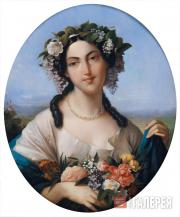 Alix DUVAL. Portrait of an Unknown Woman as Flora