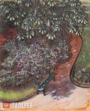 Якунчикова Мария. Аллея с каштанами [Скамейка под каштанами. Сад в Кламар]. 1899