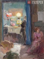 Якунчикова Мария. Интерьер с лампой. 1890