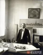 Alexei Shchusev in the design studio of the Kazan Railway Station. 1914-1915