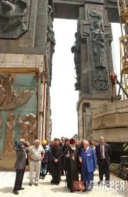 "At the ""History of Georgia"" Monument with Catholicos  Patriarch Ilia II"