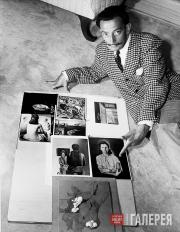 © Wirephoto A.P. Salvador Dali showing some reproductions of his work, 1946