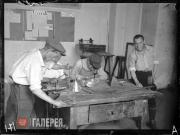 Students of the Metalworking Department in the mounting workshop of VKHUTEMAS on