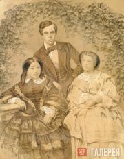 Sergei Tretyakov with his wife Elizaveta Tretyakova (born Mazurina) and ...
