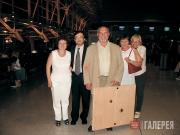 В аэропорту Лиссабона перед вылетом в Москву. Е.В.Бехтиева, Б.М.Хакимов, В.А.Род